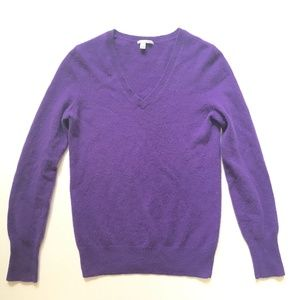 Halogen 2 ply 100% cashmere V neck L/S Sweater